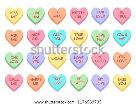 Sweet Heart Candy Sweetheart Candies Isolated Stock Vector Royalty
