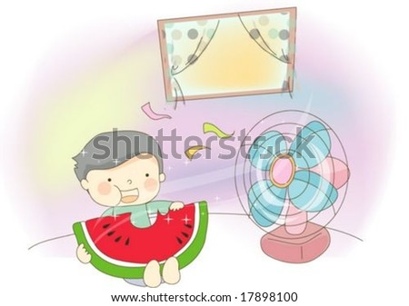 ... Vector (Royalty Free) 17898100 - Shutterstock. Sweet Home with Cute  Child - enjoying relaxed lifestyle with lovely little boy and yummy fruit 9a2b25cfeaa0a