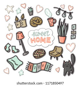 Sweet home doodle set of pins or stickers. Illustration with cat, plants, pictures, cup of coffee. Stock vector
