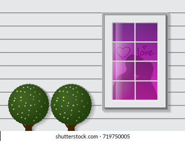 Sweet home exterior wall with window write love heart and tree. Shadow of couple kissing in the house vector illustration.