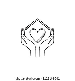 Sweet home hand drawn outline doodle icon. Hands holding heart under the house roof as best real estate and housing decision concept. Vector sketch illustration for print, web, mobile and infographics