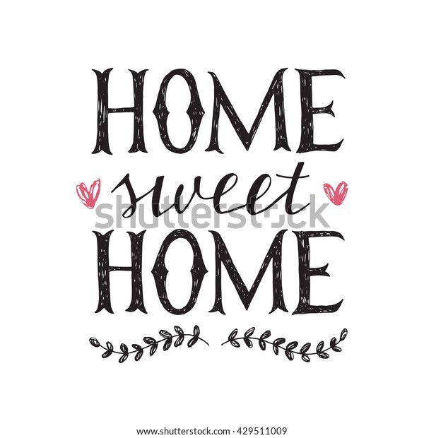 sweet home hand lettering poster