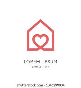 Sweet home logo - outline house and heart symbol. Love and family, social work and charity vector icon.