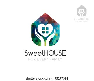 Sweet home logo template. House silhouette with hand and heart shapes in negative style. Concept for care, security, protection buildings and cottage.