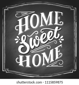 Sweet home white chalk hand lettering, vintage letters, handwritten typography on black chalkboard background in square frame. Vector illustration.