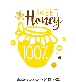 Sweet honey, 100 percent logo. Colorful hand drawn vector illustration