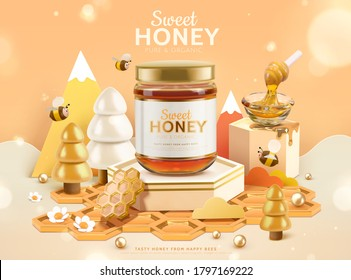 Sweet honey ad template, golden honeycomb podium design with cute bees and trees, 3d illustration