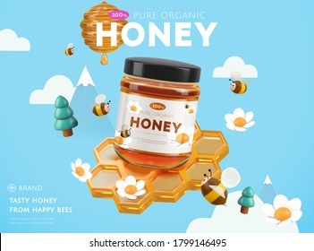 Sweet honey ad template, golden honeycomb with cute bees and trees on sky blue background, 3d illustration