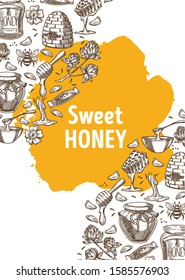 Sweet honey banner with hand drawn illustrations and yellow stain