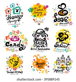 Sweet honey, candy characters. Apiary label. Sweet honey logo. Logo handmade on the topic of beekeeping. Natural bee products.