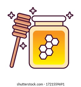 sweet honey pot and wooden spoon detailed style icon vector illustration design