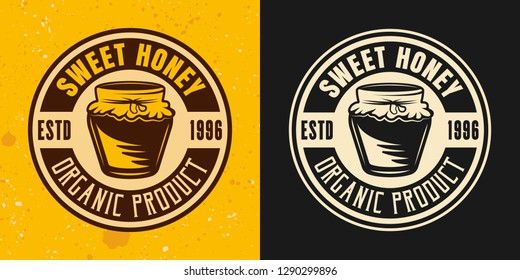 Sweet honey set of two colored styles vector emblem, badge, label or logo on yellow and dark background