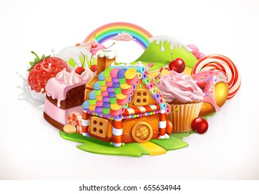 Sweet house. Confectionery and desserts, 3d vector illustration