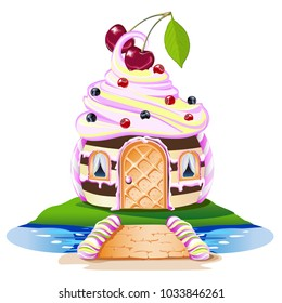 Sweet house with a cream-colored roof and cherry. Cheerful vector illustration.