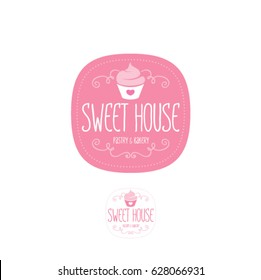 Sweet house logo. Baking and bakery emblem. Pink badge with cake and letters.
