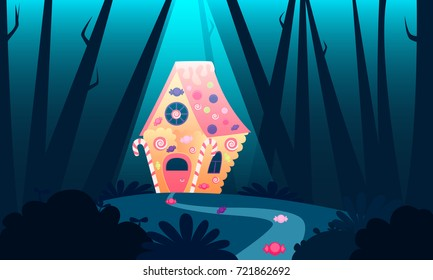 Sweet house of a witch in the forest. A Trap for Children. Vector illustration