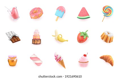 Sweet icons set. 3d realistic vector objects. Cocktail, dessert, cupcake, cake, strawberry, watermelon, banana, chocolate, ice cream, honey, croissant, donut, candy