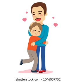 Sweet illustration of son and father hugging