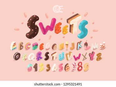 Sweet Isometric Alphabet. Numbers And Letters. Isometric Font For WebSites. Childhood Sweet Alphabet. 3D Font. Happy Birthday Party. Celebration. Realism. Cookie Cake Donut Biscuit Candy Pie