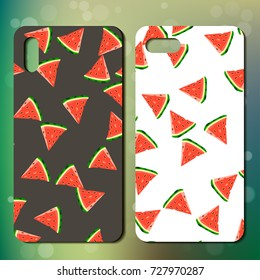 Sweet juicy whole watermelon on back side of smartphone. phone cover design. Best choice for telephone cover or case design
