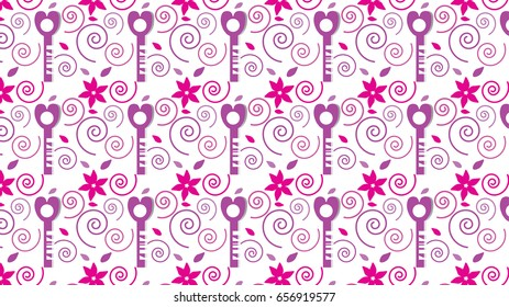 Sweet key pattern background,Vector illustration for cute design,Stylish decorative label.