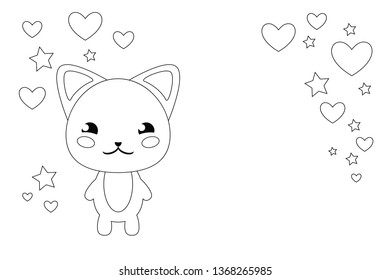 Sweet kitten cartoon caracter. Kawaii anime style. Love card. White background. Black line on white. Coloring page.