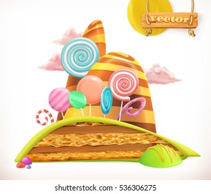 Sweet land. Cake, cupcake, candy. 3d vector icon
