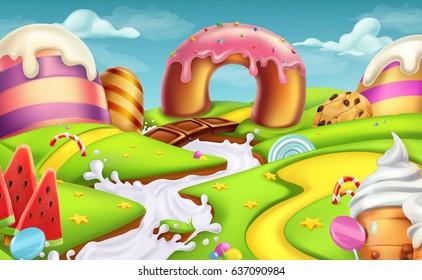 Sweet landscape 3d vector background