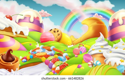 Sweet landscape. Candy land. Candies and milk river 3d vector background