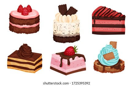 Sweet Layered Desserts and Cakes with Whipped Cream and Chocolate Topping Vector Set