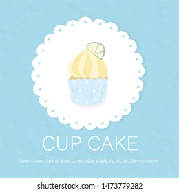 sweet lemon cupcake put on lace paper background cover.item for bakery product food logo and card looks so yummy and tasty.