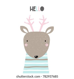 Sweet little deer with word hello. Vector hand drawn illustration.