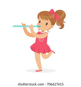Sweet little girl playing flute, young musician with toy musical instrument, musical education for kids cartoon vector Illustration