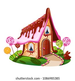Sweet little house with chocolate and decorated with candy. Cheerful vector illustration.