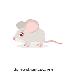 Sweet Little Mouse Vector Illustrations. Cute Mouse In Baby Cartoon Style. Mice On A White Background. Lonely Gentle Mouse.