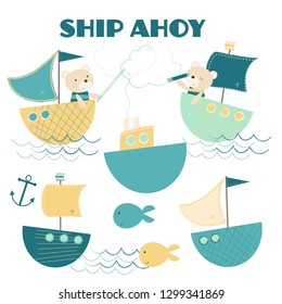 A sweet little nautical set, 10 vector illustrations of boats, bears and fish