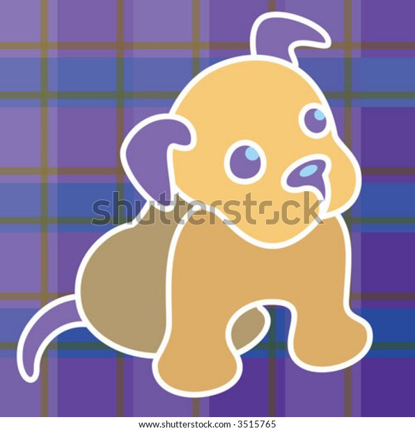 A sweet little puppy on a plaid background