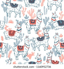 Sweet llamas cacrus seamless pattern. Alpaca kid illustration. Summer style graphic. Vector illustration