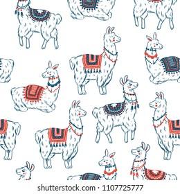 Sweet llamas seamless pattern. Alpaca kid illustration. Summer style graphic. Vector illustration