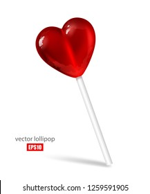 Sweet lollipop in the form of a red heart on a white background, tasty candy, lovers, a treat for children. Food, dessert, sugar. 3D effect. Vector illustration. EPS10