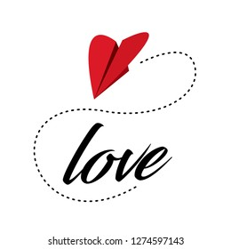 Sweet love card design with paper airplane heart. Creative valentines day decoration