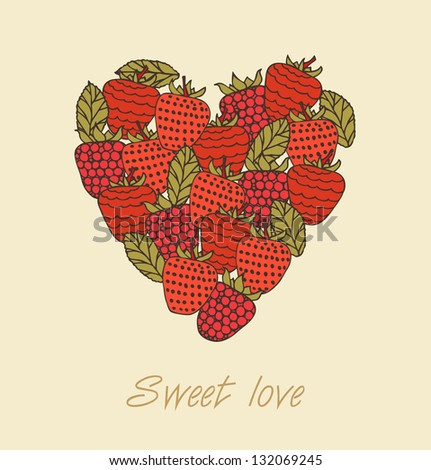 sweet love template berries heart shape stock vector royalty free