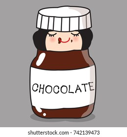 Sweet Lover Girl Is in A Chocolate Jar Concept Card Character illustration