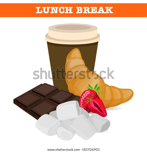 Sweet lunch break. Lunch products. Vector illustration.