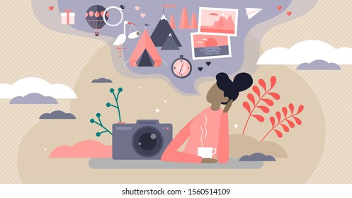 Sweet memories vector illustration. Flat tiny nostalgia feeling person concept. Remember good times in history from camera shoots and photo book. Summer adventure throwback process visualization scene