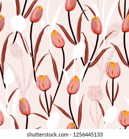 Sweet mood of hand drawn sketch tulip flowers silhouette and hand line  seamless pattern vector design for fashion,fabric,wallpaper and all prints on light pink background color