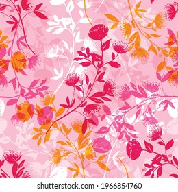 Sweet mood if Hand sketch silhouette flower shadow overlab with Botanical floral shadow seamless pattern vector EPS10 Design for fashion , fabric, textile, wallpaper, cover, web , wrapping