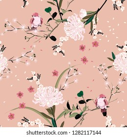Sweet mood of oriental garden flower with blooming botanical and cherry bloosom floral  seamless pattern vector design for fashion ,fabric,wallpaper, and all prints on vintage pink color background