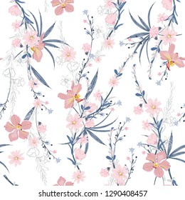 Sweet mood seamless pattern of garden many kind of botanical plants,flowers,orchid ,floral design for fashion,fabric,wallpaper,web and all prints on white  background color