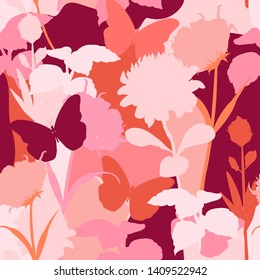 Sweet mood and tone of silhouette protea flowers ,garden botanical plants seamless pattern in vector design for fashion,fabric,web,wallpaper and all prints